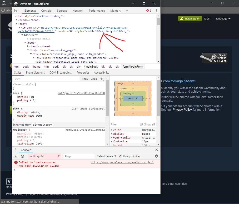 Developer tools inspect